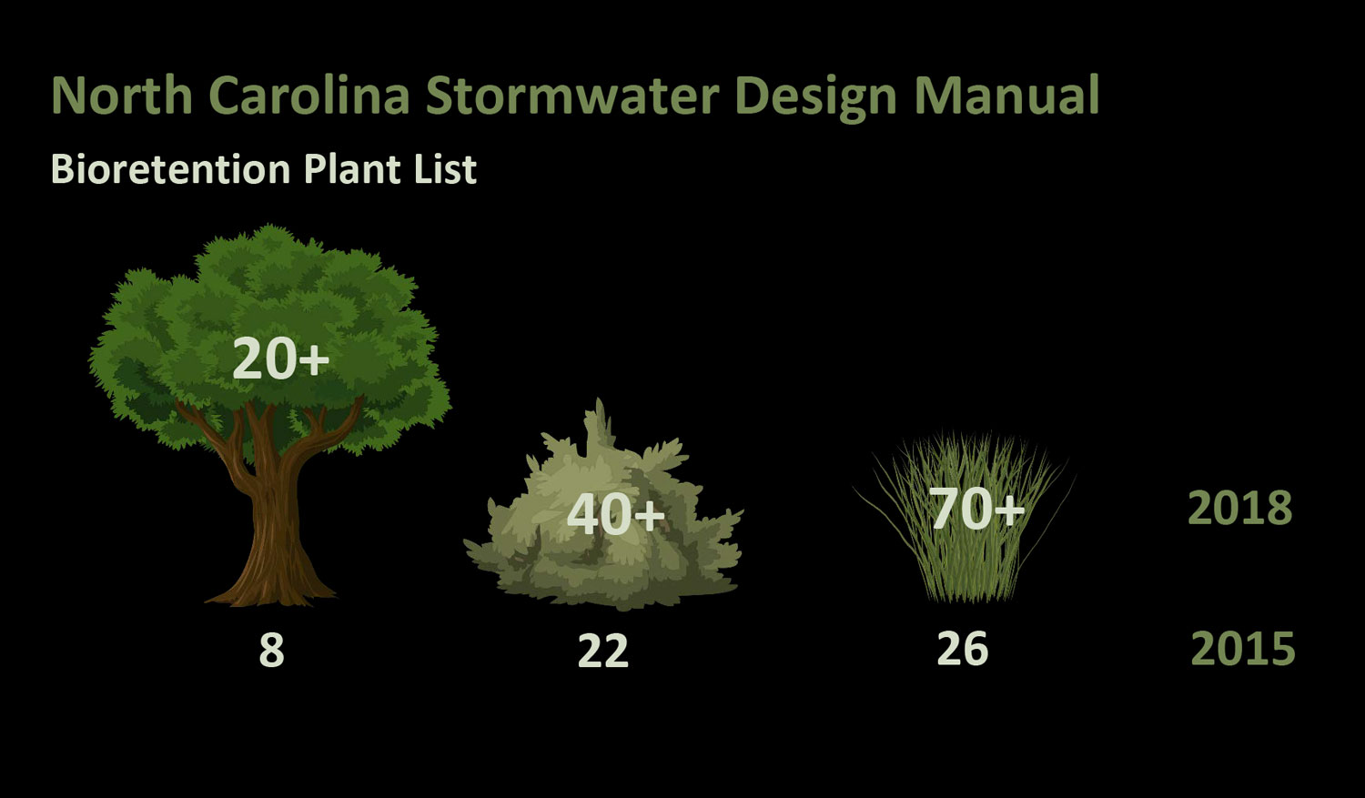 The Updated Plant Lists Included More Tree Shrub And Perennial Species For Bioretention Cells