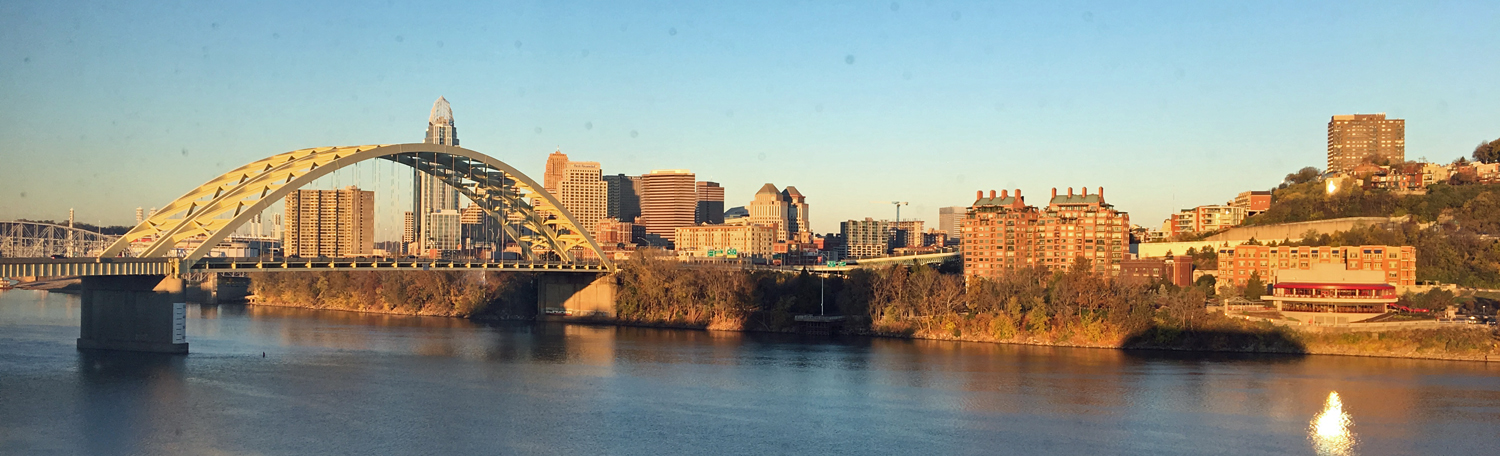The Ohio River winds through Cincinnati, with beautiful views from both sides.