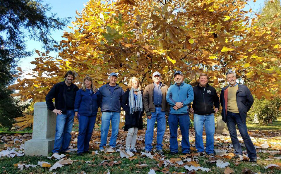Before we parted ways, our morning tour group got together for a photo in front of grogeous Bigleaf Magnolia. From left to right: John Hoffman, Terri Barmes, Scott Beuerlein, Shannon Currey, Mike Berkley, John Magee, Steve Foltz, and Steve Castorani.