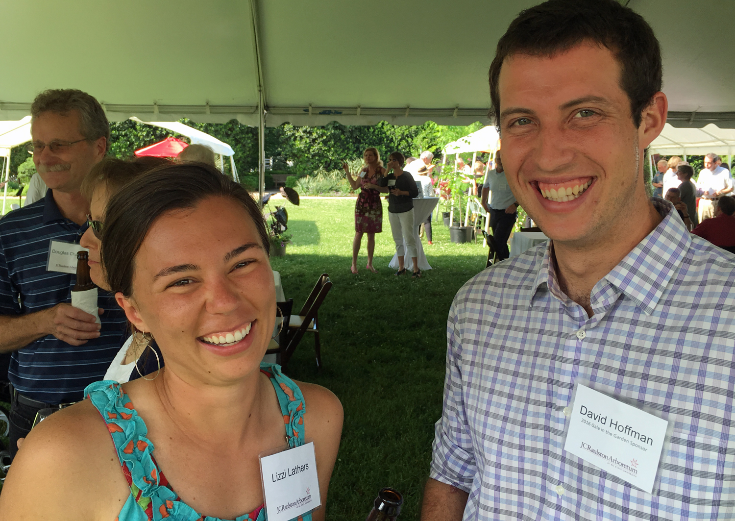 Lizzie Lathers and David Hoffman laugh about their common experiences working at the arboretum.