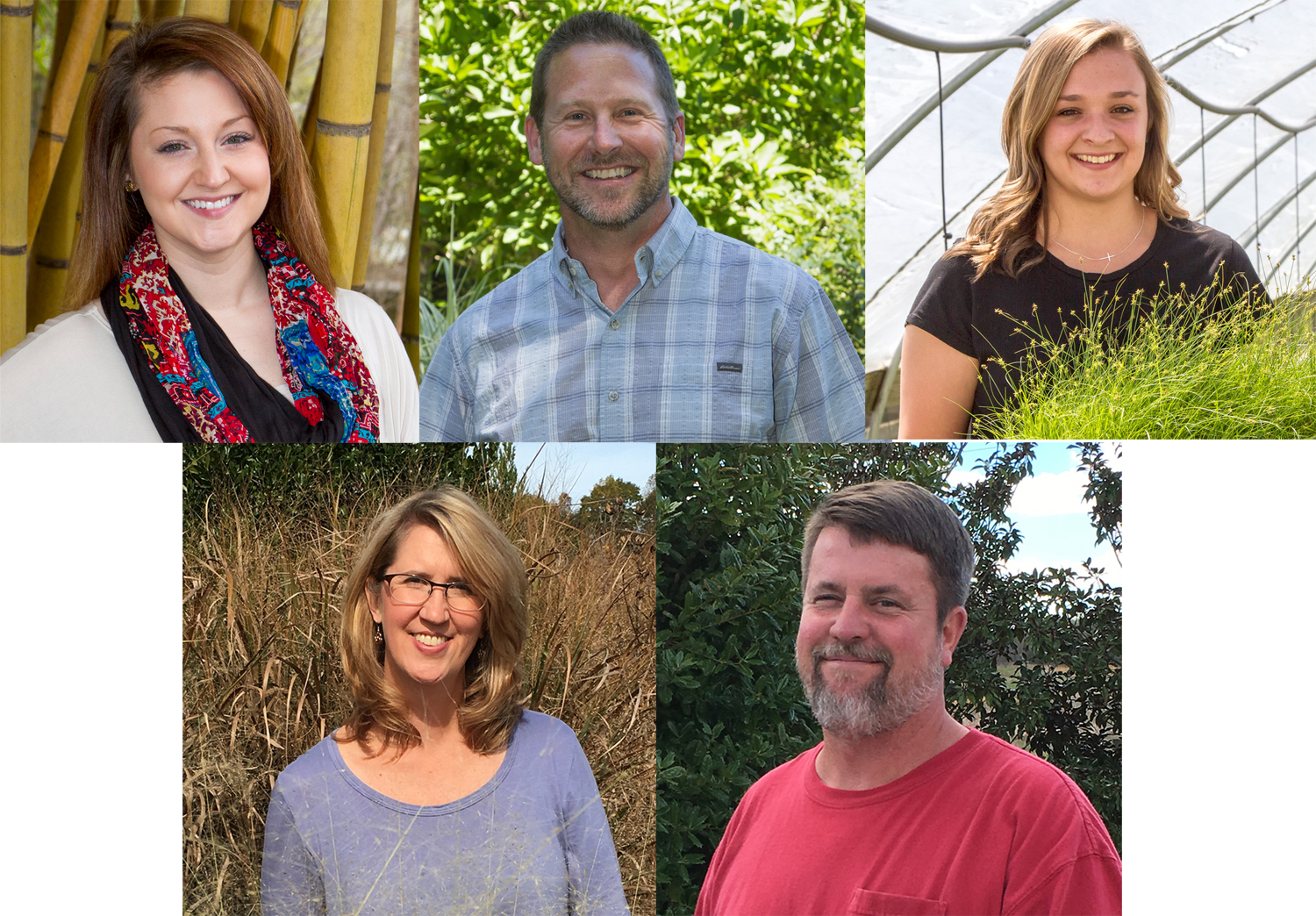 (top row) Magan Ellixson, Darren Barshaw, Annie Saunders; (bottom row) Shannon Currey, Scott Stirrup