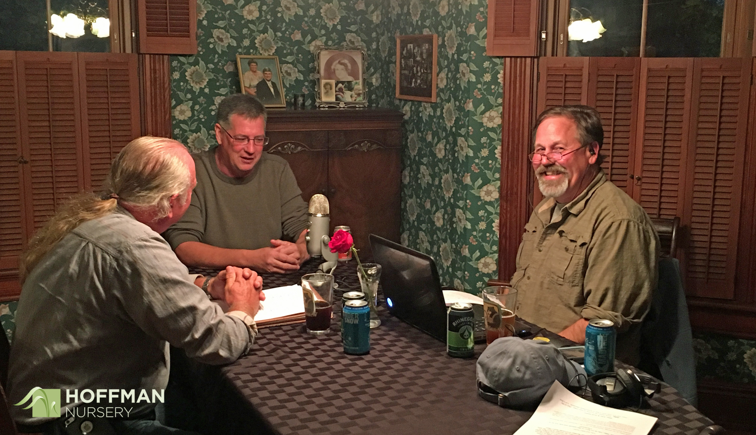 John Magee (R) and Mike Berkley (L) interview Brian Jorg about the Zoo's native plant gardens.